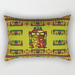 Colorful Aztec Inca Mayan Mask Rectangular Pillow