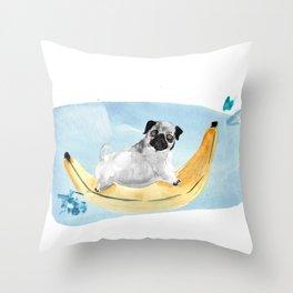 Pug on a Banana Boat Throw Pillow