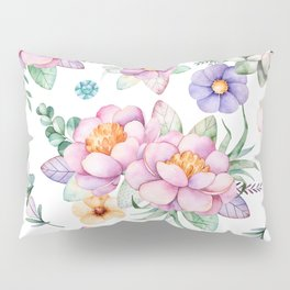 Pastel pink lavender green watercolor hand painted floral Pillow Sham