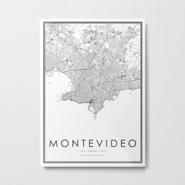 Montevideo City Map Uruguay White and Black Metal Print