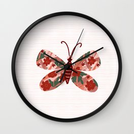 Floral collared butterfly Wall Clock