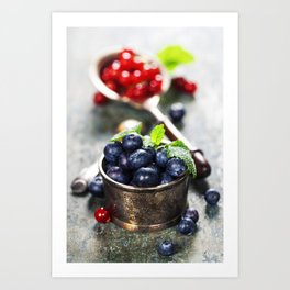 blueberries and red currant berries Art Print