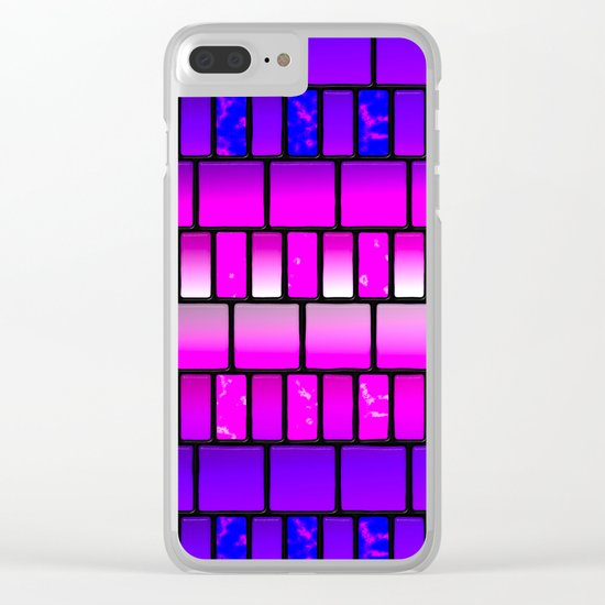 Pink and Blue Offset Tiles Pattern Clear iPhone Case