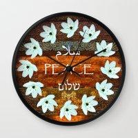 palestine Wall Clocks featuring Circle of Stars by Khana's Web