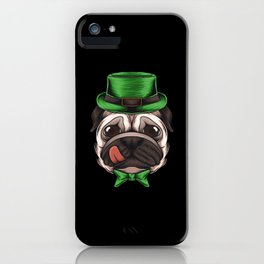St Patricks Day Puppy Pug iPhone Case