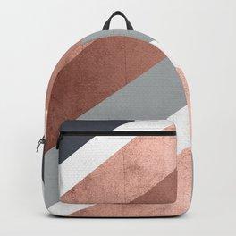 Grey, Bronze Chevron Home Decor Design Backpack