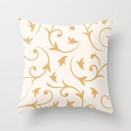Baroque Design – Gold on Cream Throw Pillow