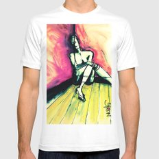 Transparent MEDIUM White Mens Fitted Tee