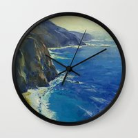 big sur Wall Clocks featuring Big Sur California by Michael Creese
