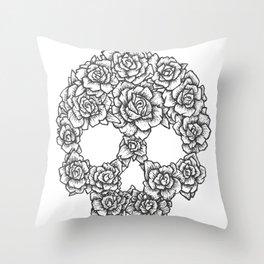 Skull of Roses Throw Pillow