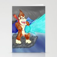donkey kong Stationery Cards featuring Donkey Kong Super Kamehameha by Juiceboxkiller