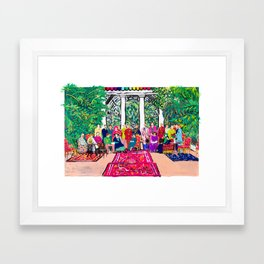 This is not a Party: Brightly colored painting of a group of people in a gigantic greenhouse with rugs and rainbow clothing Framed Art Print