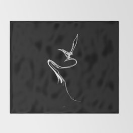 Swallow-1.White on black background. Throw Blanket