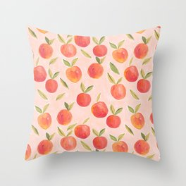 Peaches gouache painting Throw Pillow
