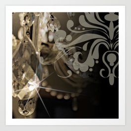 Sparkly Chandelier & Damask Art Print