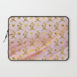 Gold Chinese Love symbol on rose marble Laptop Sleeve