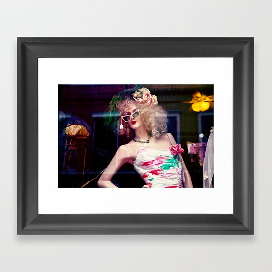 lady in the window Framed Art Print