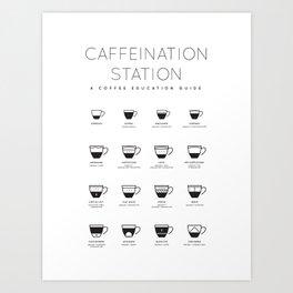 Coffee Chart - White Art Print