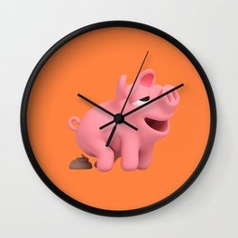 Rosa the Pig Poops Wall Clock