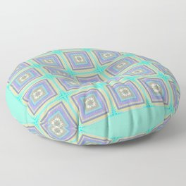 PLACID mint green and mauve squares pattern Floor Pillow
