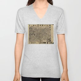 Aerial View of Waterbury, Connecticut (1899) Unisex V-Neck
