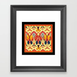 Ornate Black & Yellow Art Nouveau Butterfly Red Designs Framed Art Print