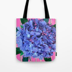 BLUE ABSTRACTED HYDRANGEA YELLOW-PINK Tote Bag