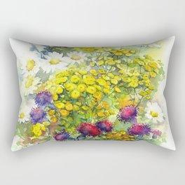 Watercolor meadow flowers Rectangular Pillow