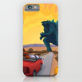 Exit Only Road Work Ahead Desert Monster Apocalypse Chimp Driving Convertible Graphic Design iPhone Case