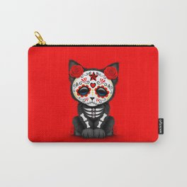 Cute Red Day of the Dead Kitten Cat Carry-All Pouch