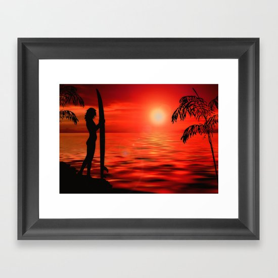 Surfer Sunset Framed Art Print