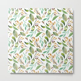 Botanical hand painted watercolor forest green brown foliage Metal Print