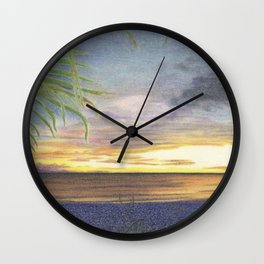 Beautiful Sunset at the Beach Wall Clock