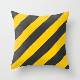 Stripes Diagonal Black & Yellow Throw Pillow