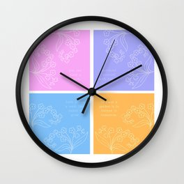 Pastel Flower Collage with Quotes Wall Clock