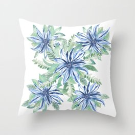Blue & Green Full Bloom in my Garden_Hand Painted watercolour  Throw Pillow