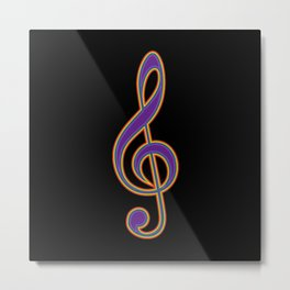 Rainbow G Clef Treble Clef Music Lover Musician Metal Print