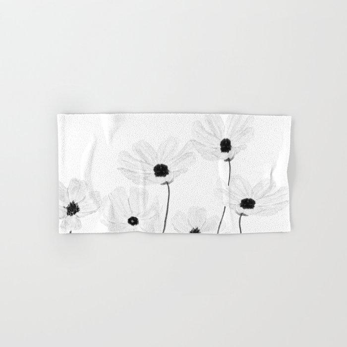 black and white cosmos Hand & Bath Towel