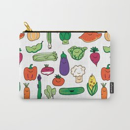Cute Smiling Happy Veggies on white background Carry-All Pouch