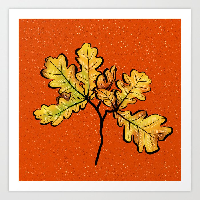 Oak leaves autumnal art Art Print by borianagiormova