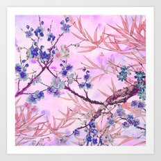 little blue flowers and pink leaves Art Print