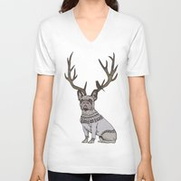 frenchie V-neck T-shirts featuring Deer Frenchie  by Huebucket