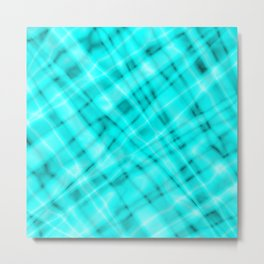 Pastel metal mesh with light blue intersecting diagonal lines and stripes. Metal Print