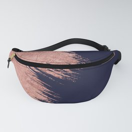 Navy blue abstract faux rose gold brushstrokes Fanny Pack