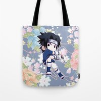 sasuke Tote Bags featuring Chibi Sasuke Uchiha by Neo Crystal Tokyo