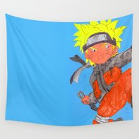 naruto Wall Tapestries featuring Naruto - ナルトwatercolour  by Lewys Williams