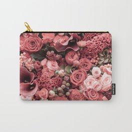 Fantasy flower garden. Delicate blooming elegant pastel coral red summer flowers artwork. Vintage glamorous moody artistic floral botanical design in warm tones. Beauty of nature. Carry-All Pouch