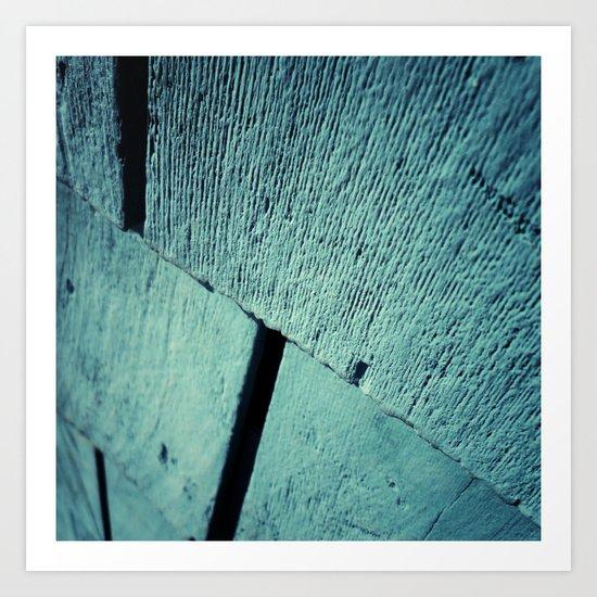 Blue Wood Grain Art Print