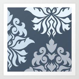 Ornate Damask Art I – Blues (B) Art Print