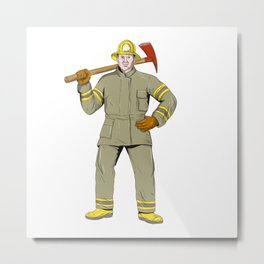 American Firefighter Fire Axe Drawing Metal Print